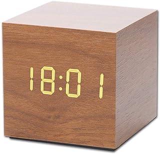Muerkai 置き時計 置時計 デジタル おしゃれ 北欧 木目調 アンティーク 時計 クロック 目覚まし時計 デジタル時計 アラーム時計 卓上 アラーム 日付 温度 木製 ウッド シンプル インテリア リビング 新築祝い 結婚祝い 【ブラウン】