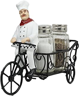 Ebros French Bistro Chef Riding On Bicycle Spice Cart Salt And Pepper Shakers Holder Figurine 6