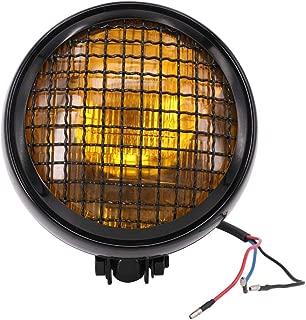 Motorcycle 6.3 Inch Headlight Retro Mesh Grill H4 55W Hi/Lo Beam For Harley Cafe Racer Bobber Custom Chopper - Black Housing + Amber Lens
