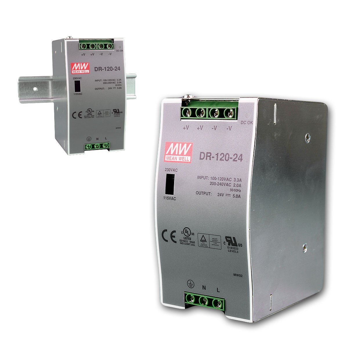 MEAN WELL DR-120-24 DR-120 Series 120 W Single Output 24 V AC/DC Industrial DIN Rail Power Supply - 1 item(s)