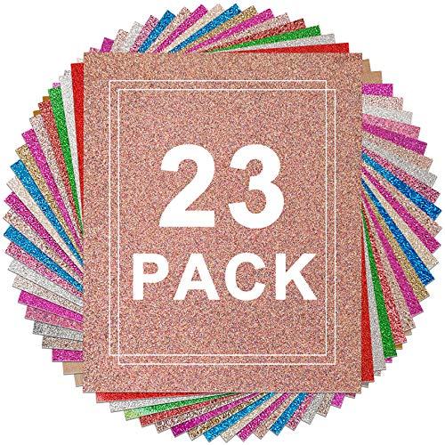 "Glitter Heat Transfer Vinyl Bundle - HIRALIY 21 Sheets 12x10"" Shiny HTV Iron-on Vinyl with 2 Heat Press Teflon Sheets HTV Glitter Bundle for Cricut Silhouette Cutter Machines for T-Shirts, Fabrics"