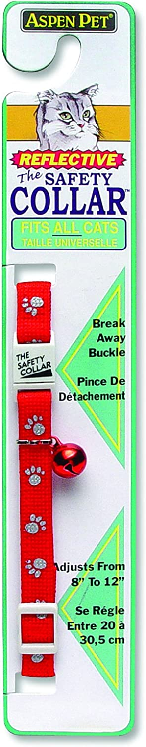 ASPEN PET PRODUCTS 0322402 Breakaway Reflective Paw Cat Collar, Red