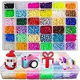 Lote de 10500 pcs Abalorios perlas, de los Granos DIY de Perler Caja de fusibles Conjunto de Perlas de 5 mm Hama Beads,36 Color(Brillar en Oscuridad)