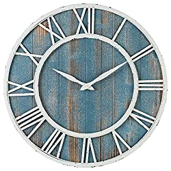 24 Coastal Wall Clock - Metal & Solid Wood Noiseless Weathered Beach Blue Wall Clock (Coastal Blue, 24-inch)
