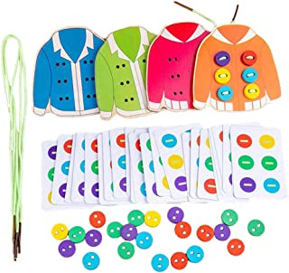 LuDa Montessori Wooden Threading Lacing Clothes Sew on Button Game Toys for Age 3-6 Years Old
