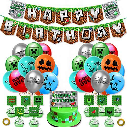 SUNSK Geburtstagsballons Video Game Party Luftballons Kindergeburtstag deko Luftballons Latex Happy Birthday Girlande Kuchen Topper 38 Stück