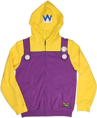 Super Mario Wario Adult Costume Zip Up sweat à capuche, L