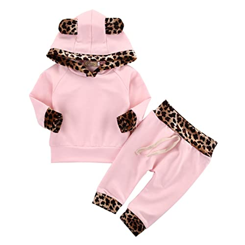 a95c8807 Tofasionla Baby Girl 2pcs Set Outfit Leopard Hooded with Pocket Top+Hooded  Long Pants Suit