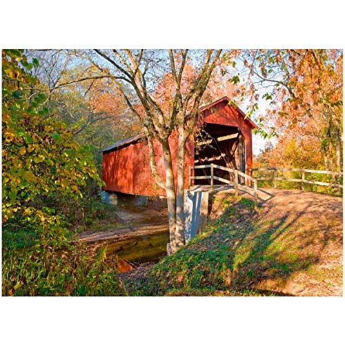 DIY Paint by Numbers Rustic red Covered Bridge Autumn for Adults Kids Beginners Painter Colorful Oil Paintings Gift Kit with Paintbrushes 16x20inch
