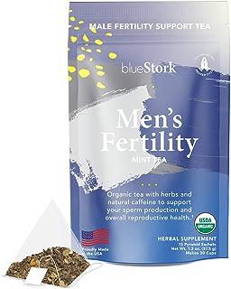 Blue Stork Male Fertility Tea: Mint Tea for Male Reproductive Health, 100% Organic, Fertility Tea for Men, Green Tea, Turm...