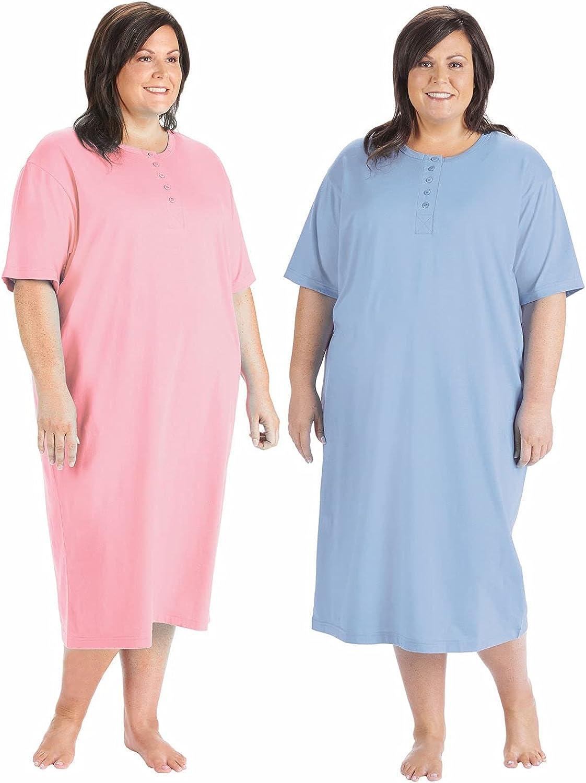 Women's 2-Pack Long Henley Nightshirts - Pajama Sleep Shirt Set, Plus