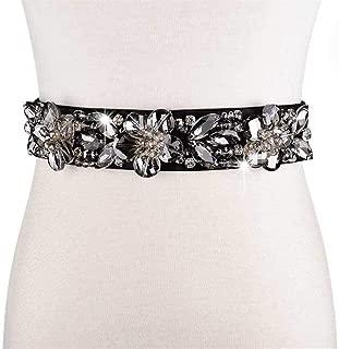 SGJFZD Women's Belt Fashionable Wild Elastic Stretch Rhinestone Inlaid Belt with Dress Skirt (Color : Black)