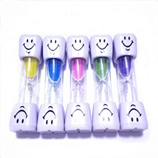 Colorsheng 5 Pcs 2 Minute Smiley Sand Timer Set for Brushing Children's Teeth (5 Color)