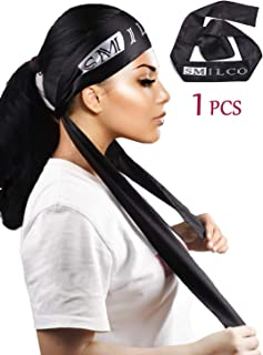Wig Grip Band Satin Edge Laying Scarf For Women Lace Frontal Wigs 1 Pcs Hair Wrap For Hair Laying Down Edges (Black-1)