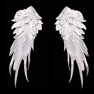 1Pair White Embroidered Angel Wings 10.6x5.1 inch (White-Small)