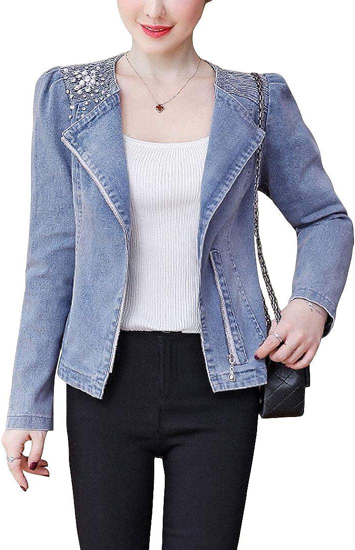 ebossy Women's Embellished Jean Jacket Lapel Zip Up Slim Fit Pearls Beading Moto Denim Jacket
