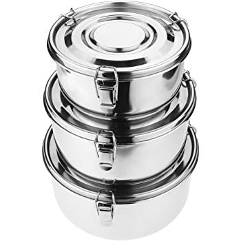Mecete Stainless Steel Food Storage Containers 304 - Leak-Proof, Airtight, Smell-Proof - Perfect For Camping Trips, Lunches, Leftovers, Soups, Salads & More (Set of 3)