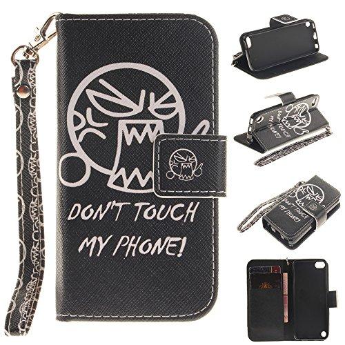 Capa tipo carteira XYX para iPod 5/6/7, [N?o me toque] [Correia de pulso] Capa tipo carteira PU premium de couro com slots para cart?o para iPod Touch 5 / iPod Touch 6 / iPod Touch 7