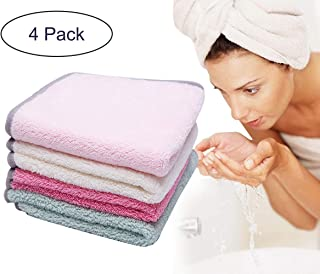ForNeat Facial Cloth Face Makeup Remover Cloths Face Cleaning Towels Microfiber Washcloths for Face Reusable with Soft Binding 12inch x 12inch(4-Pack)