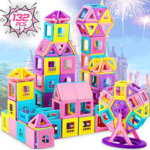 Dookey 132 PCS Bloques Magnéticos 3D, Bloques Magneticos Magneticos, Juguetes construcciones Magneticas para Niños, Juguete Educativo y Creativo para Niños Adultos Regalo de Cumpleaños y Fiestas