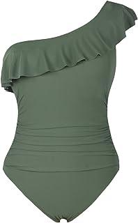 01f98b57bd Hilor Women s One Piece Swimsuits One Shoulder Swimwear Asymmetric Ruffle  Monokinis Bathing Suits