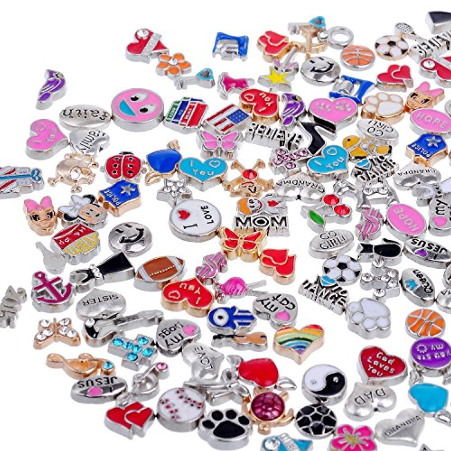 RUBYCA Wholesale 200pcs Floating Charms Lot for DIY Glass Living Memory Locket Mix Silver Gold Color