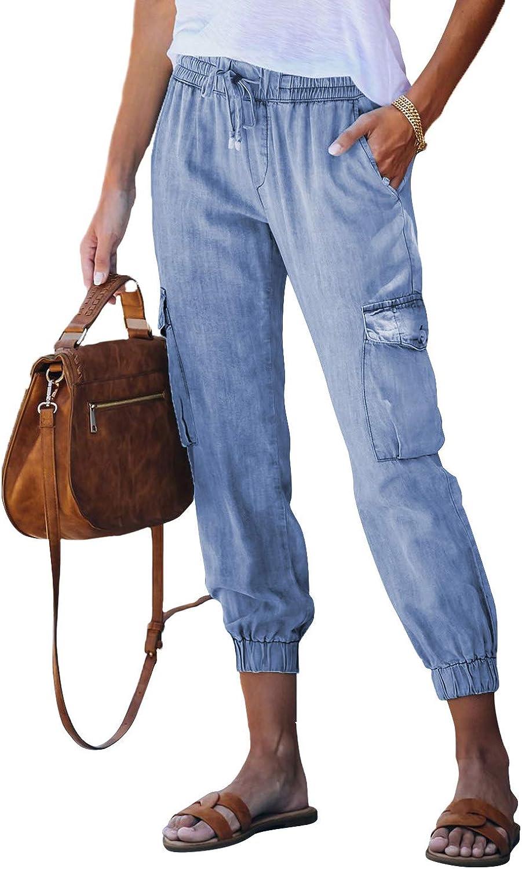 AZOKOE Women Drawstring Elastic Waist Distressed Denim Joggers Pants Loose Boyfriend Jeans with Pockets