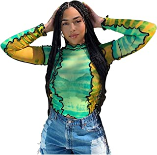 AZHONG Women's Long Sleeve Mesh Crop Top Colorful Print Ruffle Tops Tee Blouse Basic T-Shirts