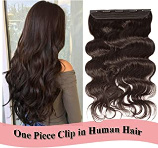Clip in Human Hair Extensions 20 inch Dark Brown #2 One Piece 5 Clips Body Wave Thick Soft Human Hair 3/4 Full Head Double Thread Weft (20