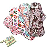 Asenappy 4 PCs Cloth Sanitary Pads Reusable X Large Cloth Menstrual Pads for Heavy Flow Night Use + Wet Bag