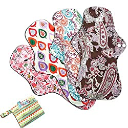 Image: Asenappy 4 PCs Cloth Sanitary Pads Reusable X Large Cloth Menstrual Pads for Heavy Flow Night Use + Wet Bag