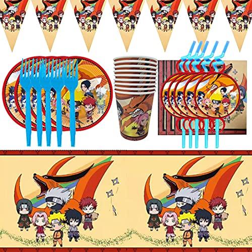 Juego de 62 piezas de vajilla para fiestas de cumpleaños para niños, decoración de mesa de cumpleaños, juego de accesorios para fiestas de Naruto, decoración de fiesta de cumpleaños para niños