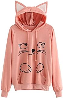 Women's Cat Ear Hoodie Cute Tie Dye Friends Unicorn Long Sleeve Kangaroo Pouch Hooded Sweatshirts