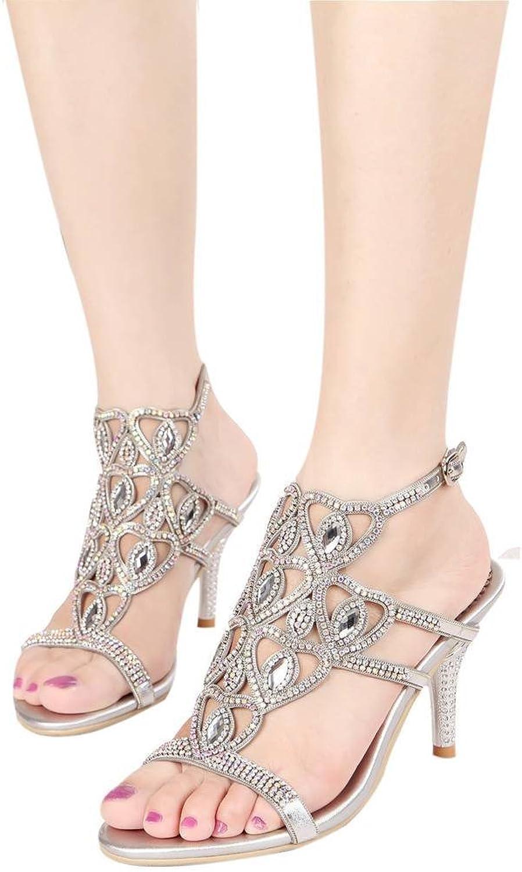 YooPrettyz Women Sparkle Sweetheart Heels Strappy Slingback Sandals Evening Cutout Pumps