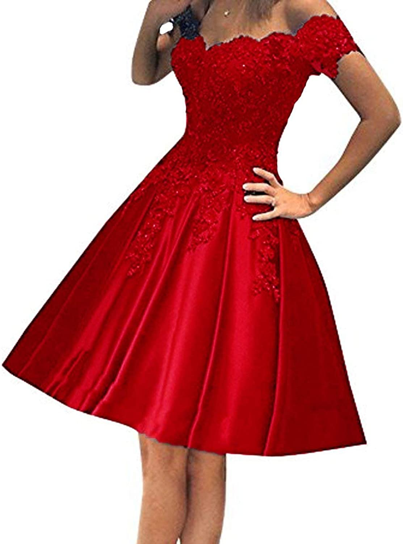 YOUTODRESS Off Shoulder Prom Dresses Short Homecoming Dress Homecoming Lace Applique