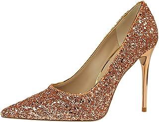 wealsex Scarpe col Tacco Donna Stiletto Paillettes Nozze Festa High Heels Scarpe 9.5CM Tacco