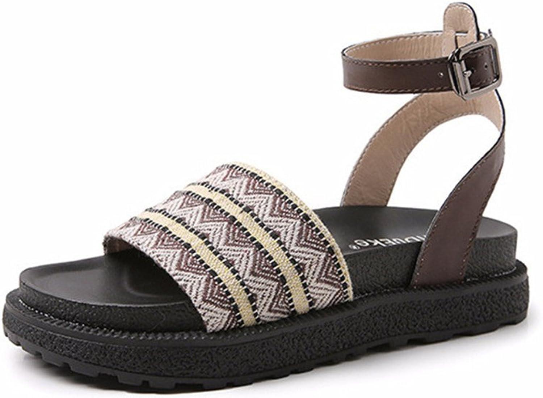 24XOmx55S99 Women Ankle Strap Metal Buckle Sandals Open Toe Platform Casual shoes