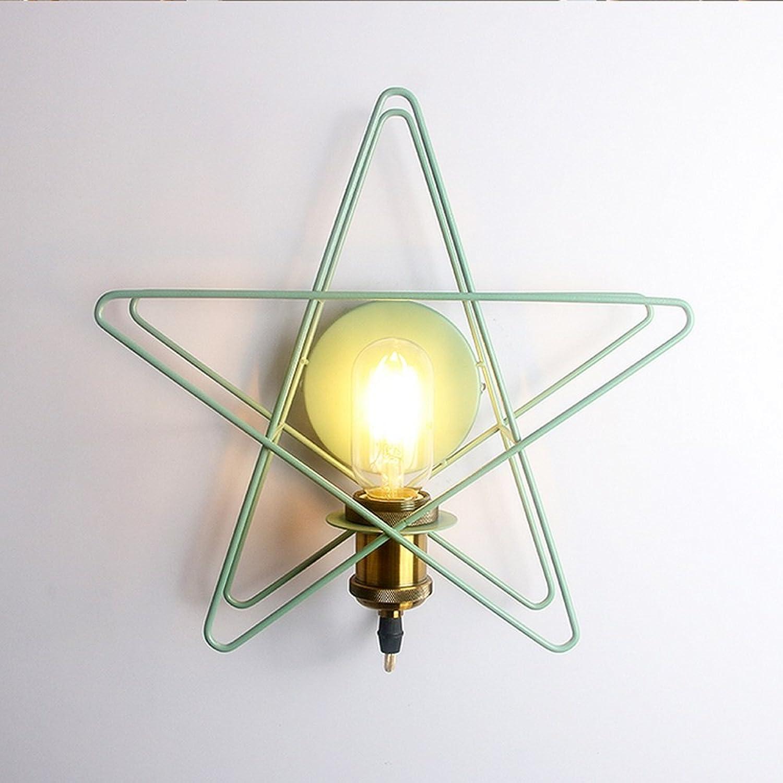 Wandlampe Moderne Schmiedeeisenfarbe Wandlampe Kreativer Sternhohlenwandlampe Einfache Bronzelampenwandlampe Für Schlafzimmerkinderraumrestauranthallebalkonhalle, Φ30cm H30cm E27 (Farbe   Grün)