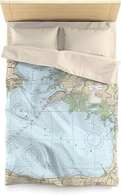 """Lake St Clair Nautical Chart Microfiber Duvet Cover, Twin - 68"""" x 88"""""""