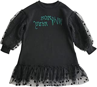 Xifamniy Infant Girls Long Sleeve Skirt Cotton Letter Print Mesh Stitching Girls Dress