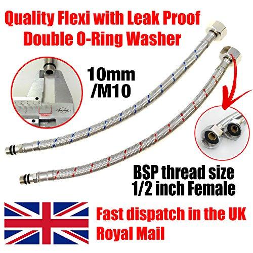 Xcel Home Schlauch für Waschtischgarnitur / Küche, lang, flexible Rohre, M10 x 1/2BSP-Gewinde, 500mm, 2 Stück