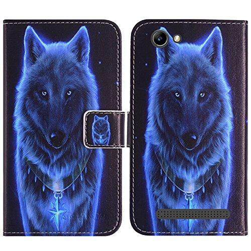 TienJueShi Wolf Flip Book-Style Brief Leder Tasche Schutz Hulle Handy Hülle Abdeckung Fall Wallet Cover Etui Skin Fur Archos 40 Power 4 inch