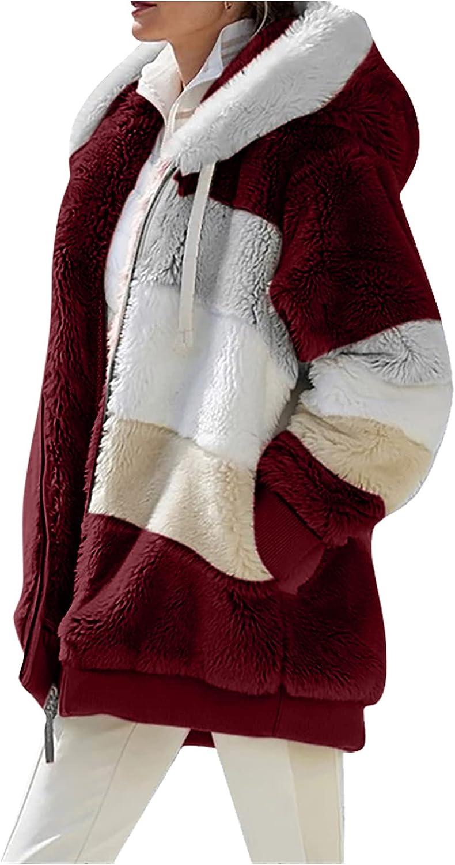 Women's Fleece Hooded Coat Loose Plus Size Zipper Winter Warm Long Sleeve Plush Hoodies Jacket Cardigan Sweaters