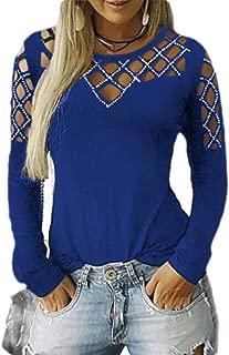 Macondoo Women's Blouse Top Casual Long Sleeve Rhinestone Hollow T-Shirts