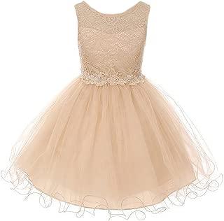 CrunchyCucumber Stretch Lace Bodice with Flower Patch on Waistline Girl Dress