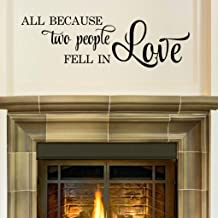 All Because Two People Fell In Love Quote, Marriage Wall Decal, Family Love Decor, 36