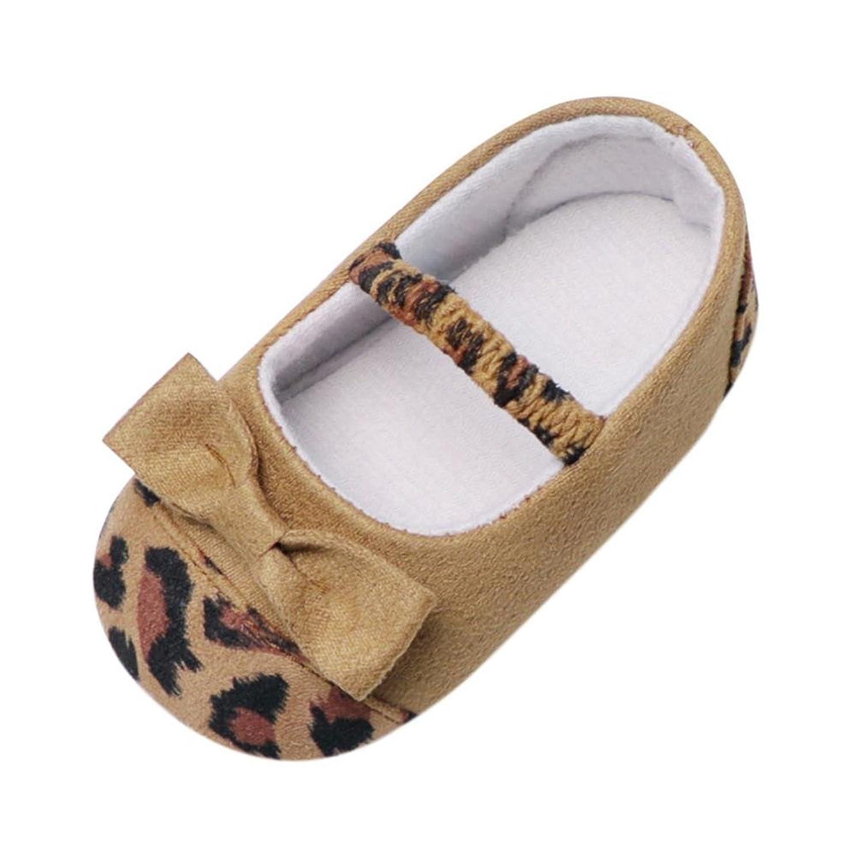 ベビーシューズMangjiu豹柄蝶結び 柔らかい ベルト 女の子 室内靴 幼児用靴 学歩靴 妊娠 出産 お祝いギフト