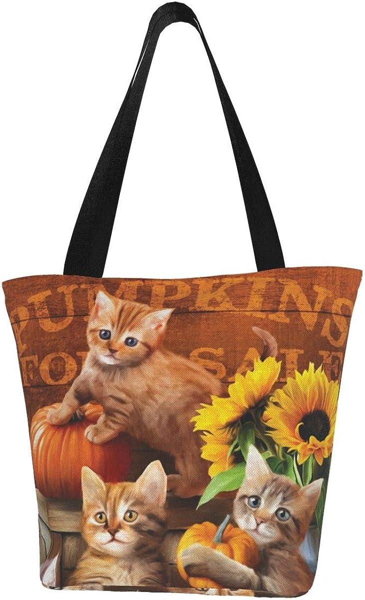 Halloween Pumpkin Sunflower Cat Pet Themed Printed Women Canvas Handbag Zipper Shoulder Bag Work Booksbag Tote Purse Leisure Hobo Bag For Shopping