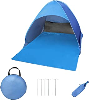 DELFINO Pop Up Beach Tent Portable Sun Shade Shelter Camping Tent for Kids and Adult Blue Come with Carry Travel Bag & Ten...