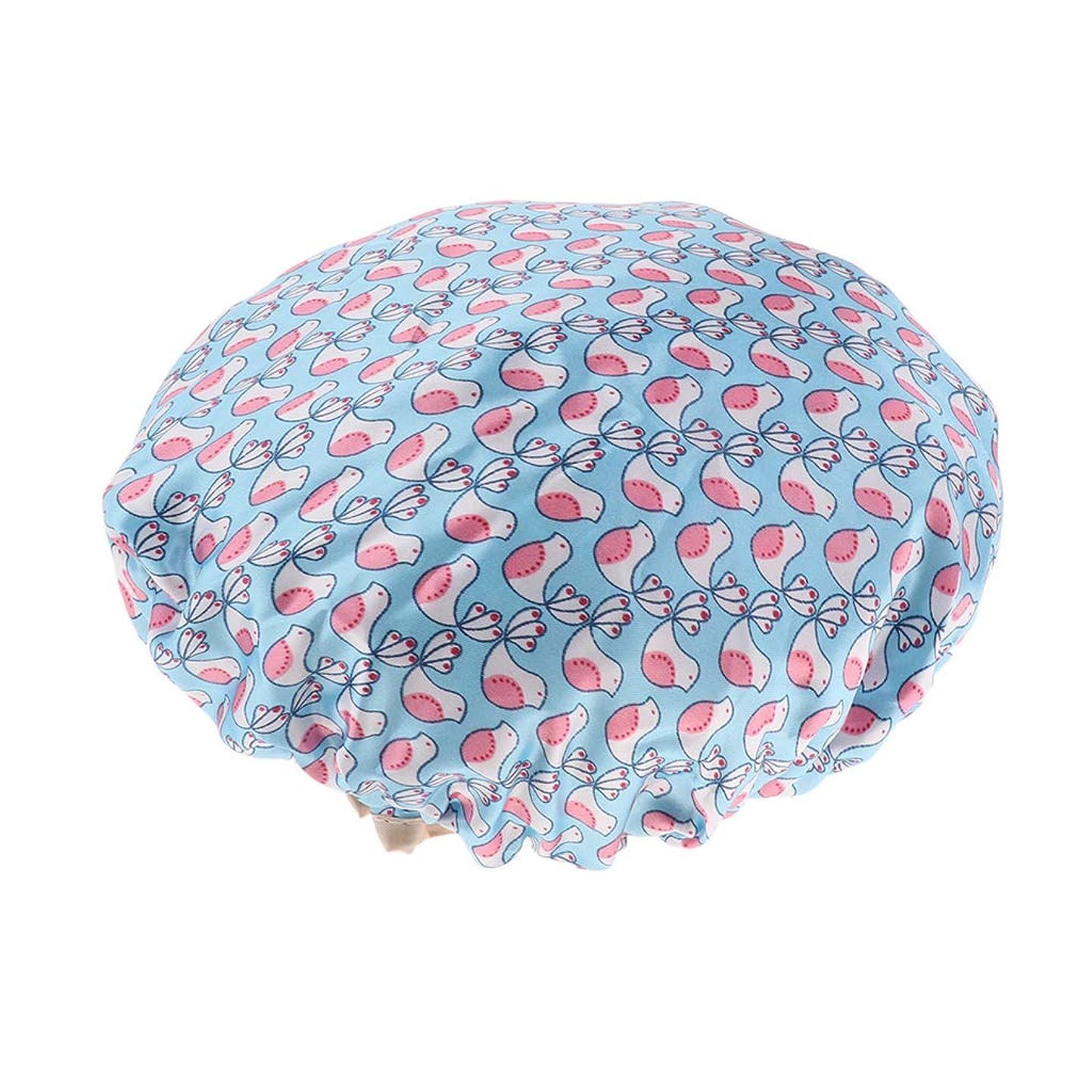 想定する効率ヘッドレスシャワーキャップ ヘアキャップ 帽子 女性用 入浴 バス用品 二重層 防水 全3色 - 青